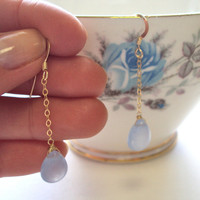 Blue Jade gold filled chain earrings - jade gemstone - dangly earrings