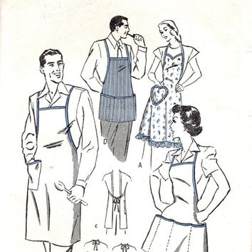 Butterick 4685 Sewing Pattern 1940s Unisex BBQ Cooking Apron Full Smock Size Medium Sweetheart Neck Multi Pockets