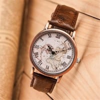 Retro World Map Casual Sports Watch + Gift Box