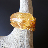 Golden Beaded Ring Citrine Nugget