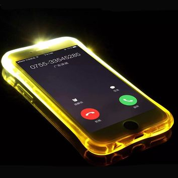 Calling Flash Phone Luminous Clear Light Clear Soft TPU Anti Knock Cases Case Cover For iPhone 7 7 Plus 6 6S Plus 5 5S SE
