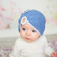 Baby turban hat in denim blue, baby shower gift, knit newborn turban, baby's first hat, baby headwrap, infant headwrap, stylish baby hat