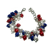 Red, White and Blue Beaded Cluster Bracelet with Silver Star Charms