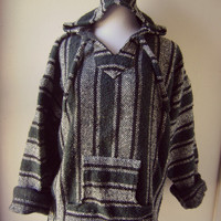 mexican striped baja hoodie vintage 90s woven grunge sweatshirt green black l/xl hippie boho coat festival clothing pullover blanket jacket