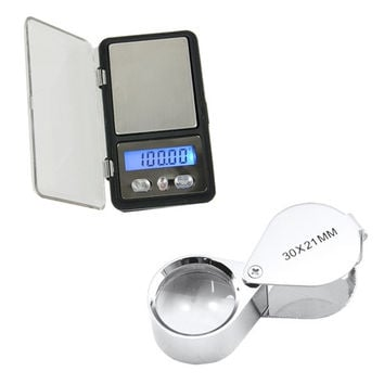 deals] Digital Jewelry Pocket Gram Scale Balance 0.01g x 300g/100g Jeweler Loupe  D_L = 5988059073