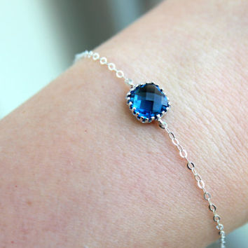Dainty Sapphire Navy Blue Bracelet Square Sterling Silver Bracelet Navy Blue Bridesmaid Bracelet - Bridal Bracelet Sapphire Wedding Jewelry