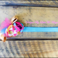 "Blue And Pink Headband For Little Girl Infant  And Toddler Girls, "" Tutu Cute"" Hair Accessory"
