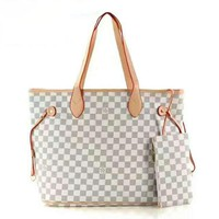 LV Ms. Shopping Leather Handbag Tote Satchel Bag Two-Piece H-LLBPFSH