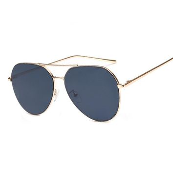 Rose Gold Oversized Mirror Aviation Sunglasses Vintage Retro Sun Glasses