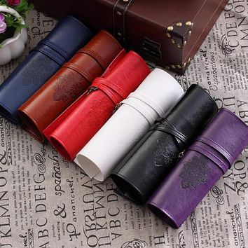 Luxury Roll Leather Make Up Cosmetic Pen Pencil Case Pouch Purse Bag for School Vintage Retro Office Pens Pencils Cases Holder
