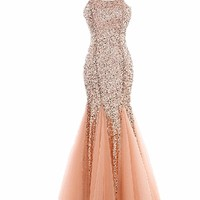 TT1 Sequined Evening Dresses party full length prom gown ball dress robe