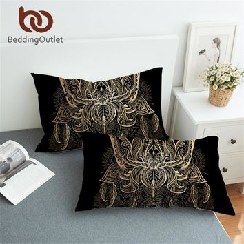 BeddingOutlet Lotus Body Pillowcase Floral Bohemian Print Pillow Case Sun Gold Bedding Feather Pillow Cover Luxury 50x75 50x90cm