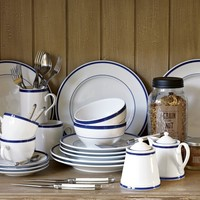 Brasserie Blue-Banded Porcelain Dinnerware Place Settings
