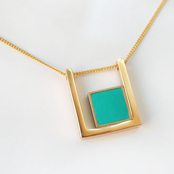 Geometric square within a square necklace -Turquoise