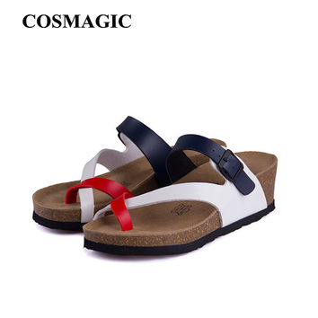 Fashion Cork Wedge Sandals Slipper 2017 New Women Summer Beach Trifle Casual Cross Buckle Flip Flips Free Shipping