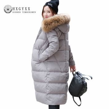 Winter Womens Jackets 2017 Fashion Real Fur Collar Hooded Long Down Jacket Warm Goose Feather Coat Plus Size Zipper Parka Okb116