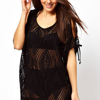 Black Crochet Beachwear with Ties and Cut-Out Detail