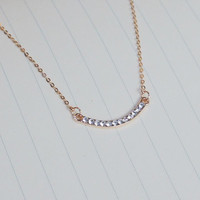 Rose Gold Crystal Semicircle Charm Necklace,Tiny Necklace,Dainty Necklace,Rose Gold Necklace,Peas Necklace,her necklace,gift for her