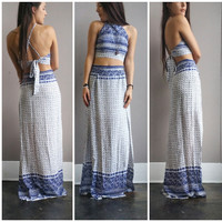 A Blue Oceanic Double Slit Maxi Set Storefront