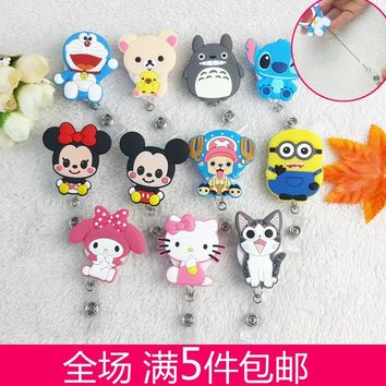 Fashion Cute Cartoon Animal Characters Retractable Badge Reel For ID Business Work Card Badge Holder 10pcs/lot