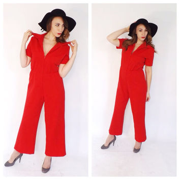 Vintage 1970s Glam Red Jumpsuit One Piece Pantsuit Retro Jumper Pants Disco Romper Size Medium Large Hipster Disco Motown Flare Palazoo Pant