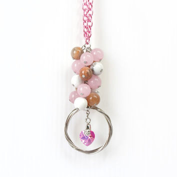 Rose Quartz Beaded Necklace with Pink Moonstone and Howlite, Heart Swarovski Crystal, Pink Fashion Jewelry