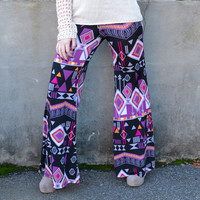 Forest Fever Purple Tribal Palazzo Pants