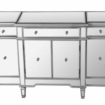 Silver finish wood and mirrored panels sideboard console hall table