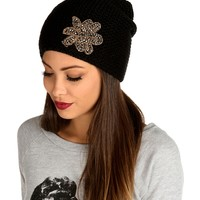 Sale-black Faceted Stone Flower Beanie