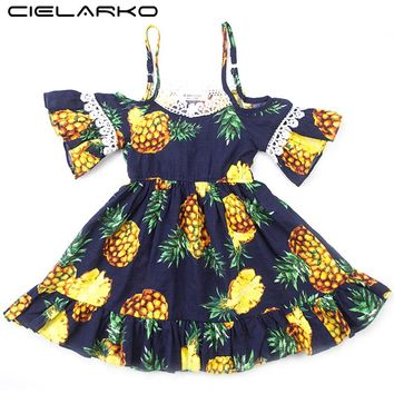 Cielarko Girls Dress Strapless Pineapple Baby Dresses Layered Navy Kids Frocks Children Beach Costume Clothing for Girl