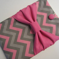 "Macbook Pro 13 Sleeve MAC Macbook 13"" inch Laptop Computer Case Cover Pink & Grey Chevron with Pink Bow"