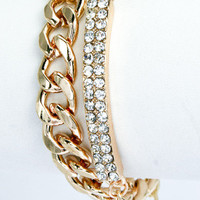Crystal Studded Bar Chain Bracelet