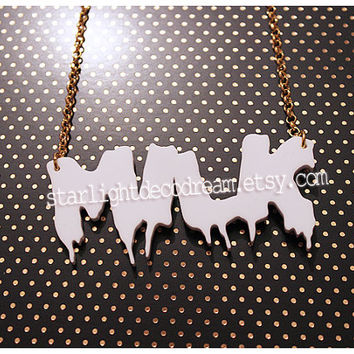 Dripping Milk Acrylic Necklace for Spooky Cute Kitsch Cult Party Kei or Fairy Kei