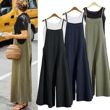 New Summer Women Casual Solid Strap Wide Leg Pants Pockets Romper Dungaree Bib Overalls Loose Cotton Linen Jumpsuits