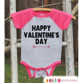 Girls Valentines Outfit - Happy Valentine's Day Shirt or Onepiece - Girls Valentine Shirt - Kids, Baby, Toddler, Youth - Pink Raglan