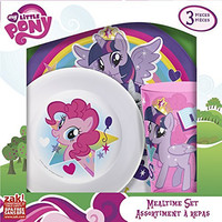 Zak! Designs Mealtime Set with Plate, Bowl and Tumbler featuring My Little Pony Graphics, Break-resistant and BPA-free plastic, 3 Piece Set