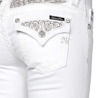 MIss Me White Skinny Peacock Fill Jeans