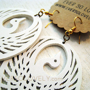White Phoenix Rising  Carved Wooden Bird Earrings by eversolovely