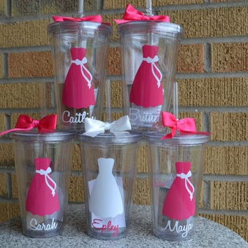 13 - Bridesmaid Gift - Wedding Party Tumblers- Bridal Tumblers - Set of 13 - You pick dress style(s) and colors(s)