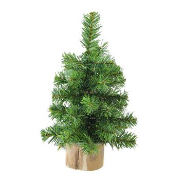 """10"""" Alpine Artificial Christmas Tree With Wood Base Table Top Decoration - Unlit"""