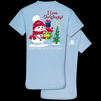 Southern Couture Classic Christmas Snowman Holiday T-Shirt