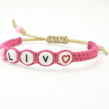 Personalized bracelet - Name bracelet - Custom name bracelet - Pink braided hemp bracelet with alphabet beads - Girl bracelets