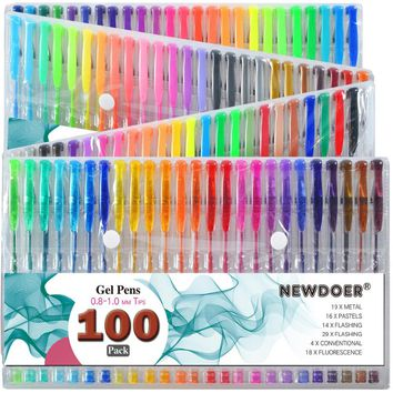 100 Color Set Gel Colored Pens with Foldable Case for Adults Coloring Books, Drawing Glitter, Neon, Symphony, Milky & Metallic