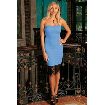 Blue Stretchy Strapless Sweetheart Cocktail Party Bodycon Dress - Women