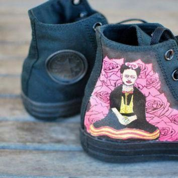 ICIKGQ8 hand painted frida kahlo converse chuck taylor hi top sneakers