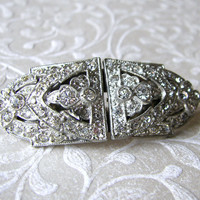 1930s Art Deco Jewelry Rhinestone Duette Convertible Brooch Wedding Dress Clips Patent 1852188
