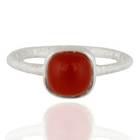 Handmade Red Onyx Semi Precious Stone 925 Sterling SIlver Textured Ring Jewelry