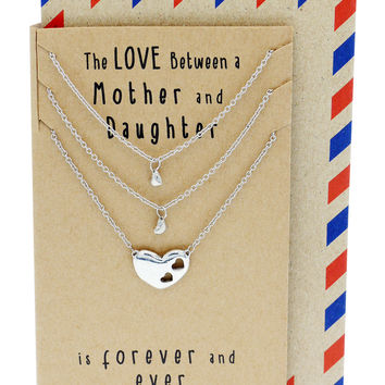 Ivy Gifts for Mom Mother Daughter Heart Necklace, Mother Daughter Jewelry Set (3-pc necklace)
