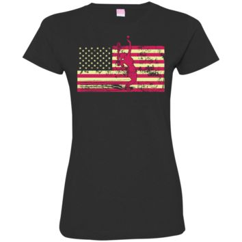 Female Tennis Player Silhouette On The American Flag Ladies Custom Fine Jersey T-Shirt