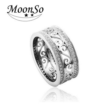 Moonso Real 925 sterling silver ring Vintage Antique AAA Zircon Ring for women jewelry Engagement WeddingT0879